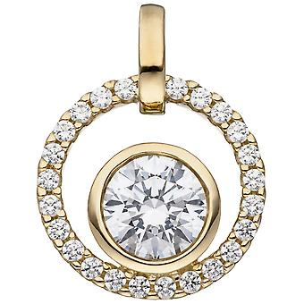 Trailer around 333 gold yellow gold 25 cubic zirconia pendant gold