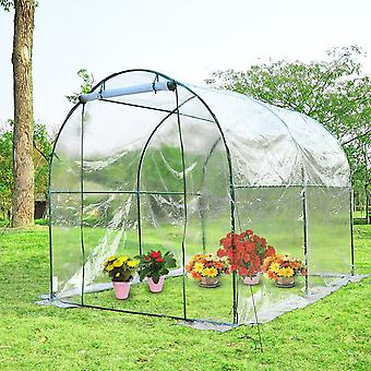 Outsunny Large Walk in Transparent  PVC Greenhouse  Steel Frame 250x200x200cm