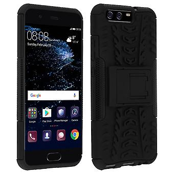 Shockproof Stand case, Backcover for Huawei P10 & Kickstand - Black