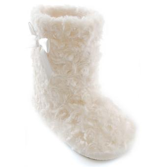 Girls SlumberzzZ Hi-Top Curly Fur Slipper Boot With Satin Bow Detail KT0588