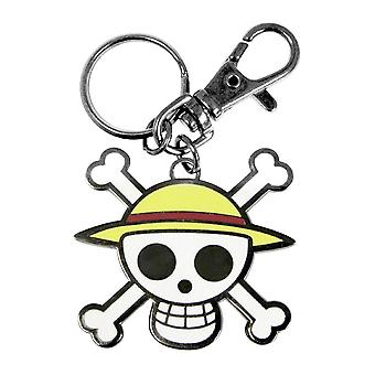 One piece key pendant skull Luffy multicolor metal, with mini carabiner.