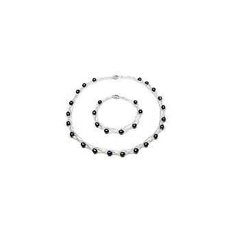 Parure Necklace Bracelet twisted woman in Silver 925 and cultured black pearls