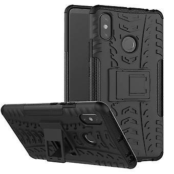 Für Xiaomi Redmi Note 6 Pro Hybrid Case 2teilig Outdoor Schwarz Tasche Hülle Cover Schutz