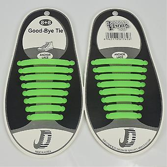 Trendy shoelace which do not need to be tied 8 par. Green