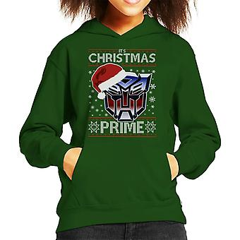An Autobot Merry Christmas Transformers Kid's Hooded Sweatshirt