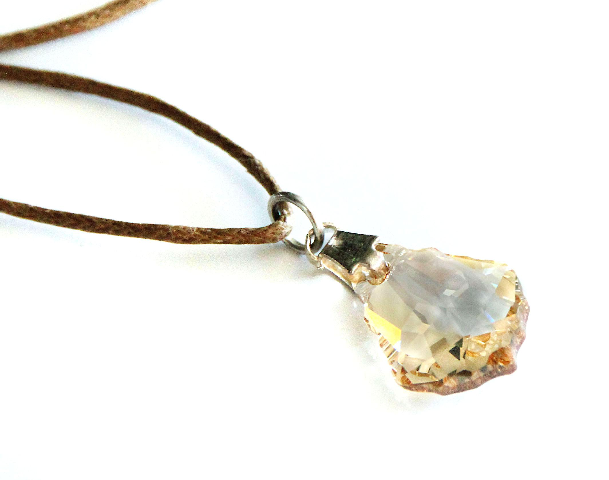 Waooh - Jewelry - Swarovski / amber teardrop pendant yellow and wax cord - Café
