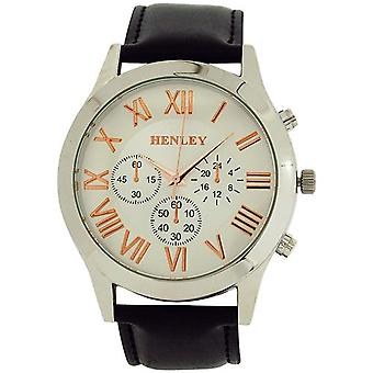 Henley Gents White Dial Roman Numeral 3 Sub Dial Black PU Strap Watch H02092.14