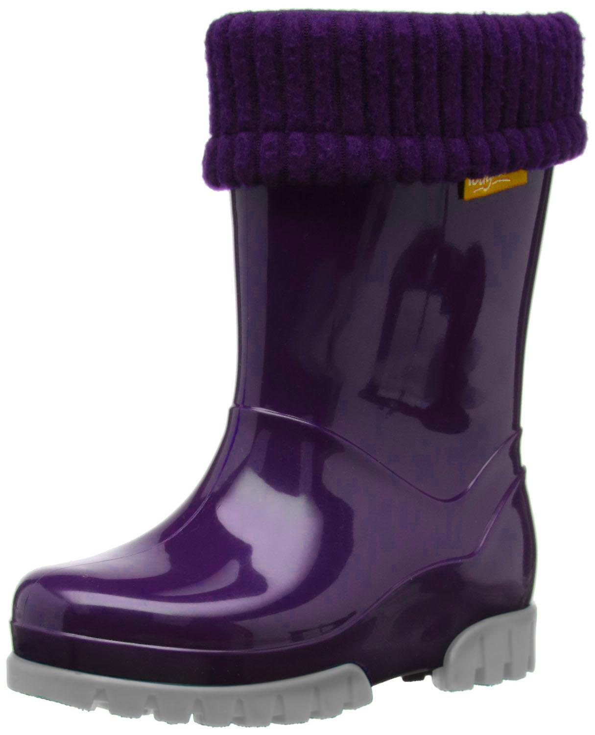 Toughees Removable Fleece Lined Purple Wellingtons