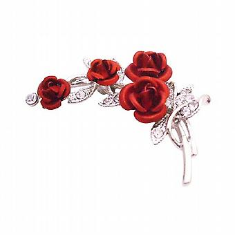 Red Rose Bouquet Vintage Rose Flower Brooch Wedding Christmas Gift
