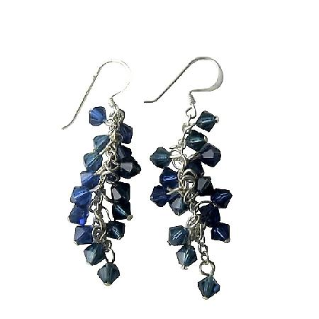 Sapphire Crystals Earrings Swarovski Crystals Sterling Silver Earrings
