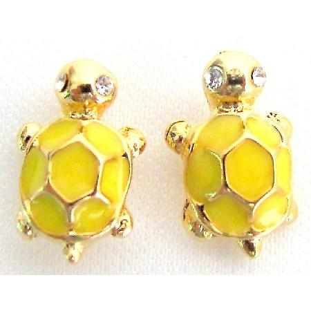 Yellow Turtle Earrings with Gold Metal Cute Turtle Earring Return Gift