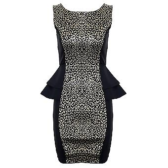 Ladies Sleeveless Gold Leopard Print Double Peplum Womens Short Party Dress