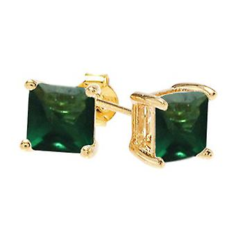 Ah! Jewellery Square Emerald Crystals From Swarovski. Gold Filled, Stamped GL