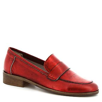 Leonardo Shoes Women's handmade round toe moccasins in red calf leather