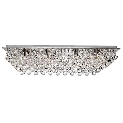 Searchlight 6728-8CC Hanna 8 Light Chrome Rectangle Flush With Crystal Balls