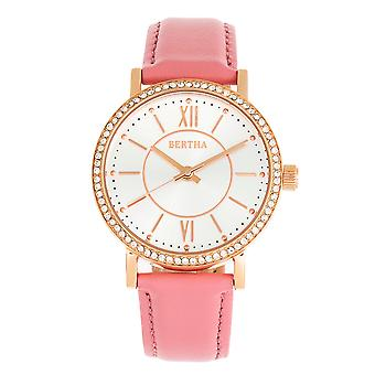 Bertha Lydia Leather-Band Watch - Pink