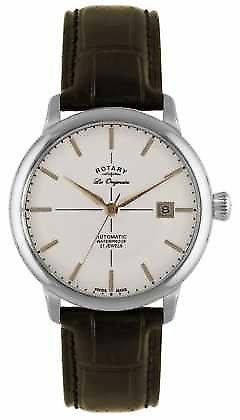 Rotary Mens Automatic Burlington Stainless Steel Brown Leather GS90060/06 Watch