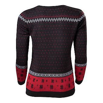 Disney Mickey & Minnie Christmas Womens Sweatshirt Dark Grey/Red Small