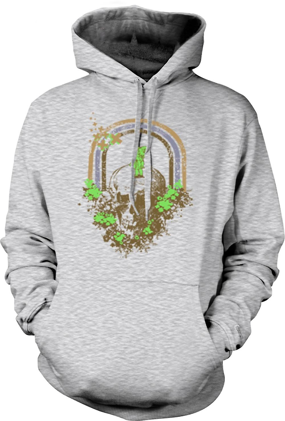 Mens Hoodie - Skull Grunge Rainbow Drawing