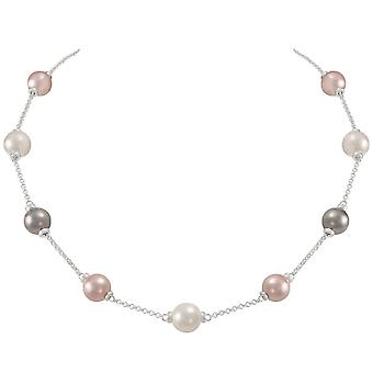 Eternal Collection Knightsbridge Multi Coloured Shell Pearl Silver Tone Necklace