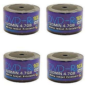 AONE DVD-R 16X Write FF Full Face Inkjet Printable 50 Spindle/Cake Box Blank Discs Recordable DVDs