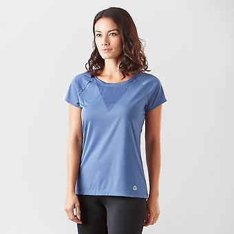 New Roxy Women's Chasing Sunset Training Short Sleeve T-Shirt Blue