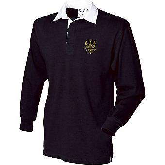 14e 20e koningen Hussars-gelicentieerd Britse leger geborduurd lange mouw rugby shirt