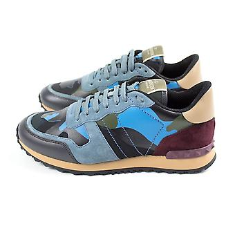 Valentino Blue Camouflage Rockrunner Trainers