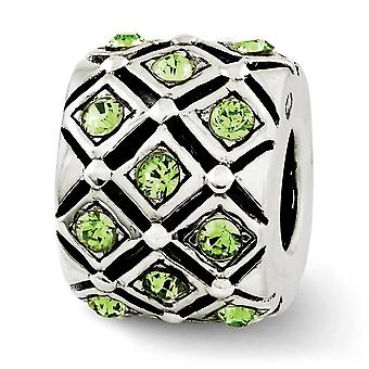 925 Sterling Silver Polished Antique finish Reflections August Crystal Bead Charm