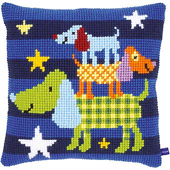 Funny Dogs Cushion Cross Stitch Kit-15.75