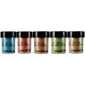 Lindy's Stamp Gang 2 Tone Embossing Powder .5Oz 5 Pkg Mermaid Seashells Ep Set 7