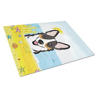 Tricolor Corgi Summer Beach Glass Cutting Board Large BB2123LCB