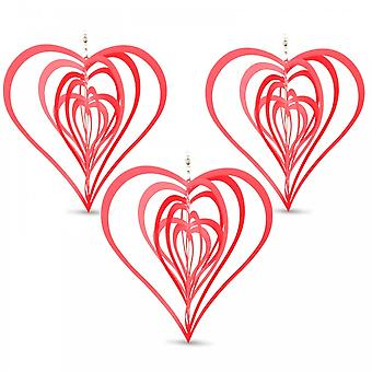 Set of Three Red Heart Shaped Steel Garden Windspinners