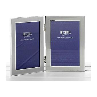 Satin Silver Colour Twin 2 Picture Folding Photo Frame Gift (Holds Two 5