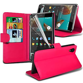 i-Tronixs OnePlus 3 Case PU Leather Wallet Classic Flip Cover + Screen Protector Guard -Pink