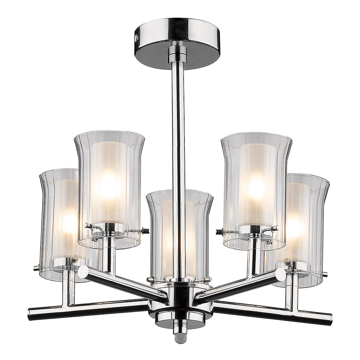 Dar ELB0550 Elba Modern Chrome Bathroom Semi-Flush Ceiling Light