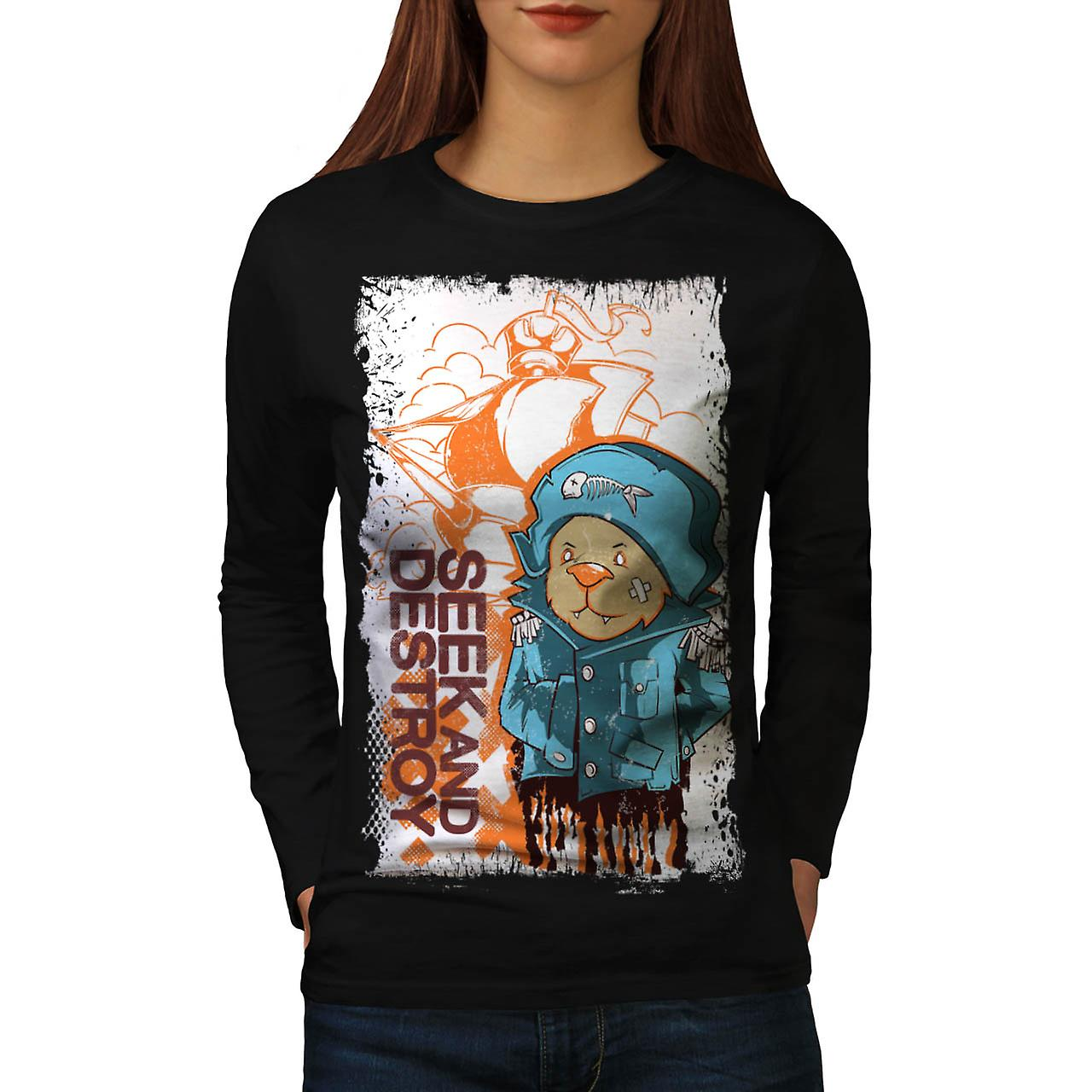 Seek And Destroy Bear Pirate Coat Women Black Long Sleeve T-shirt | Wellcoda
