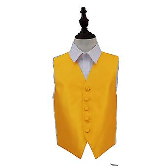 Sunflower Gold Solid Check Wedding Waistcoat for Boys