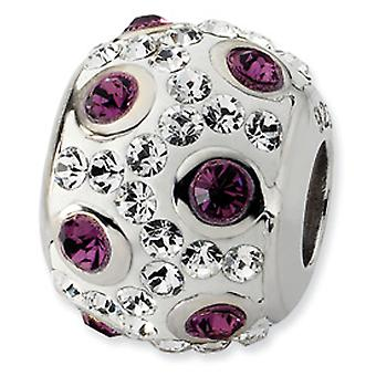 Sterling Silver Polished White and Purple Crystal Bead Charm