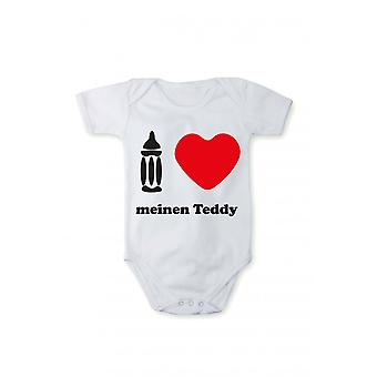 T-shirt with print baby Bodysuit-I love my Teddy in different languages