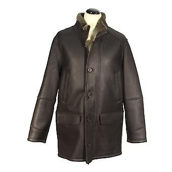 Leonard - lambskin Shearling long coat leather jacket men coat Black Brown
