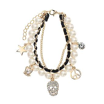 14K Gold Plated Black Rope Simulated Pearl Charm Bracelet, 17cm