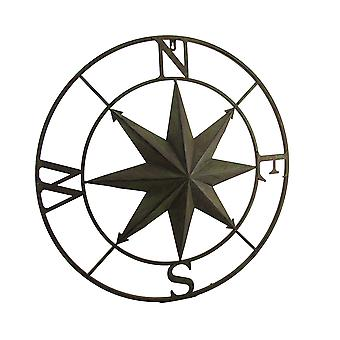 Distressed Finish 26 Inch Diameter Compass Rose Nautical Wall Hanging