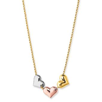 14K Tri Color Gold Puffy Hearts Charms Necklace, 17