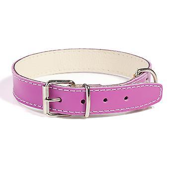 Doggy ting almindelig læder hundehalsbånd blomme 35cm
