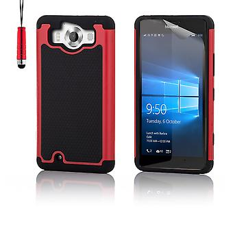 Shock-proof case + stylus voor Microsoft Lumia 950XL - rood
