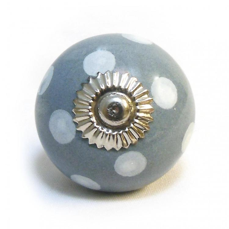 Grey / White Spots Ceramic Cupboard Knob