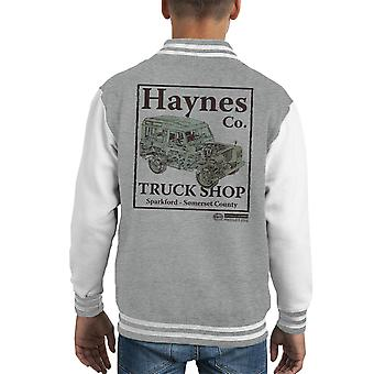 Haynes Brand Truck Shop Sparkford Land Rover Kid's Varsity Jacket