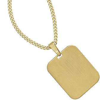 Pendant engraved engraving plate 333 gold yellow gold matte finish