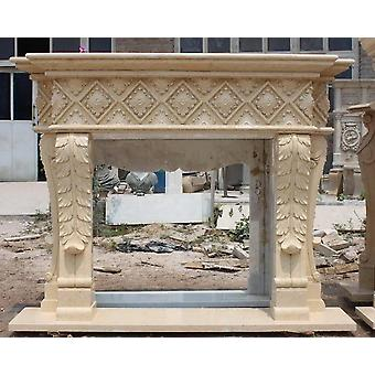 baroque fireplace  marble beige rococo antique style JrMa6377
